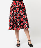 1950s Style Black & Red Watermelon Rounds Print Dorothy Swing Skirt