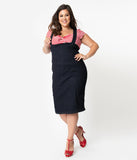 Plus Size Retro Style Dark Denim Blue High Waist Suspender Pencil Skirt