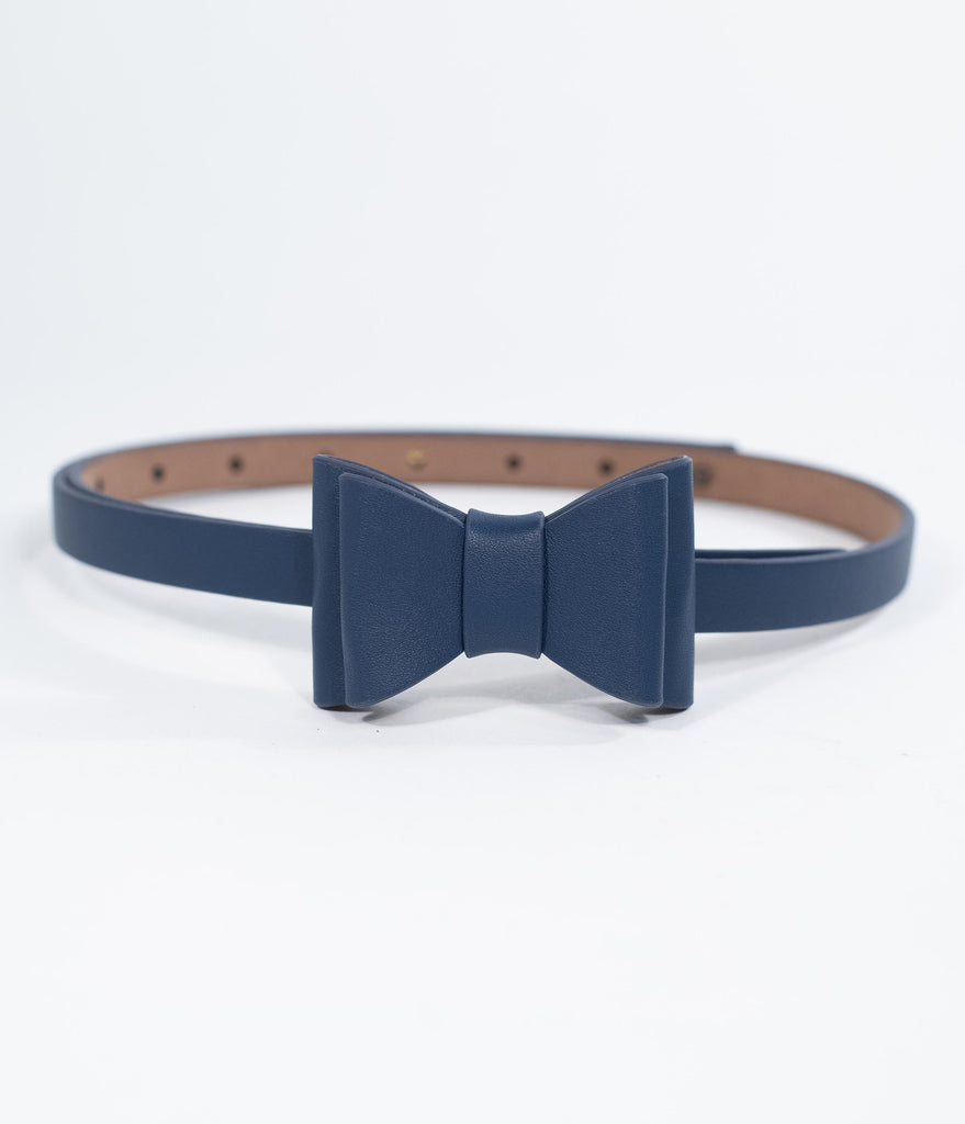 Vintage Style Navy Blue Leatherette Bow Snap On Belt