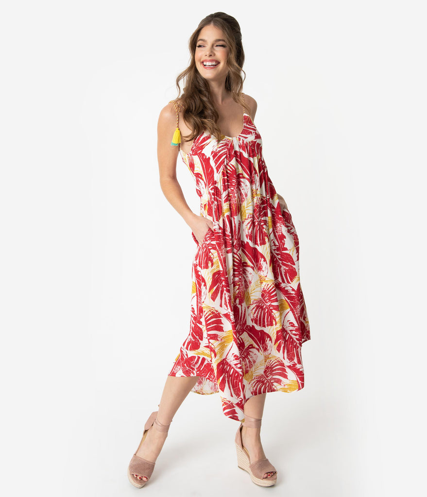 Red & White Tropical Print Sleeveless Midi Dress Coverup