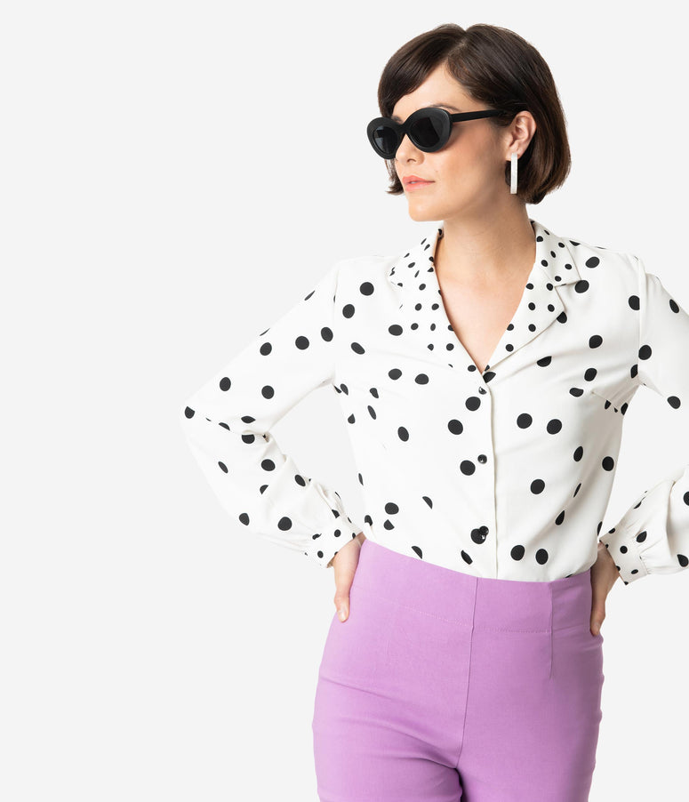 White & Black Polka Dot Crepe Long Sleeve Button Up Blouse