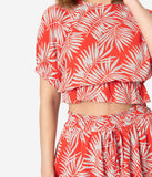 Retro Red & White Palm Print Crop Blouse