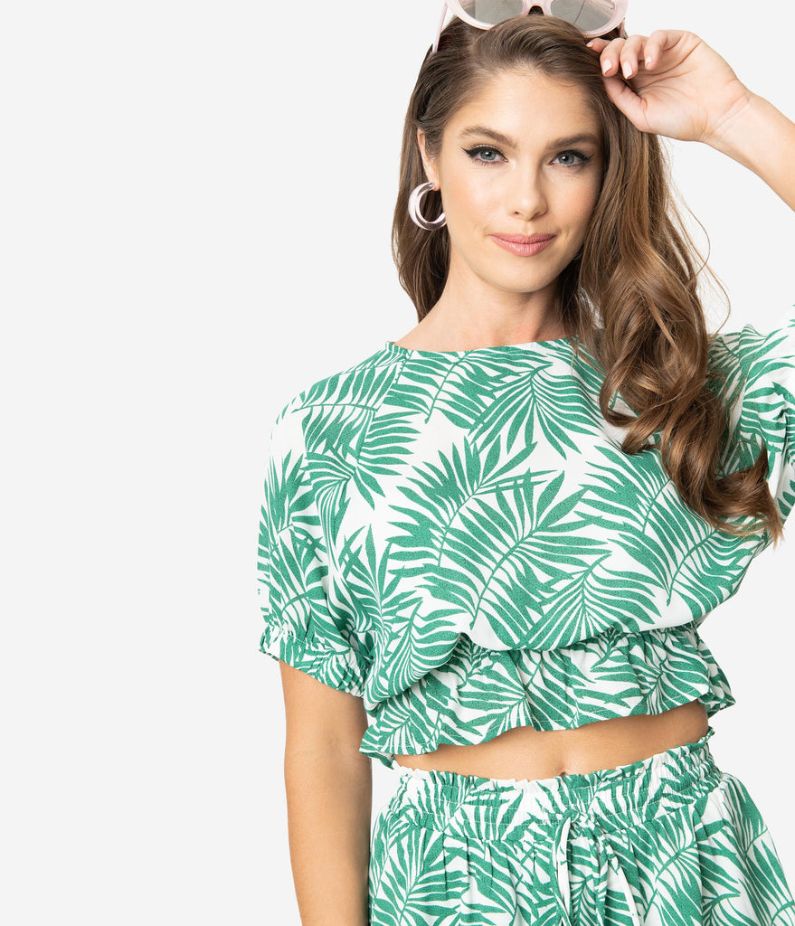 Retro Style Green & Ivory Palm Print Sheer Crop Blouse
