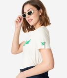 Vintage Style White & Green Cotton New York Stretch Tee