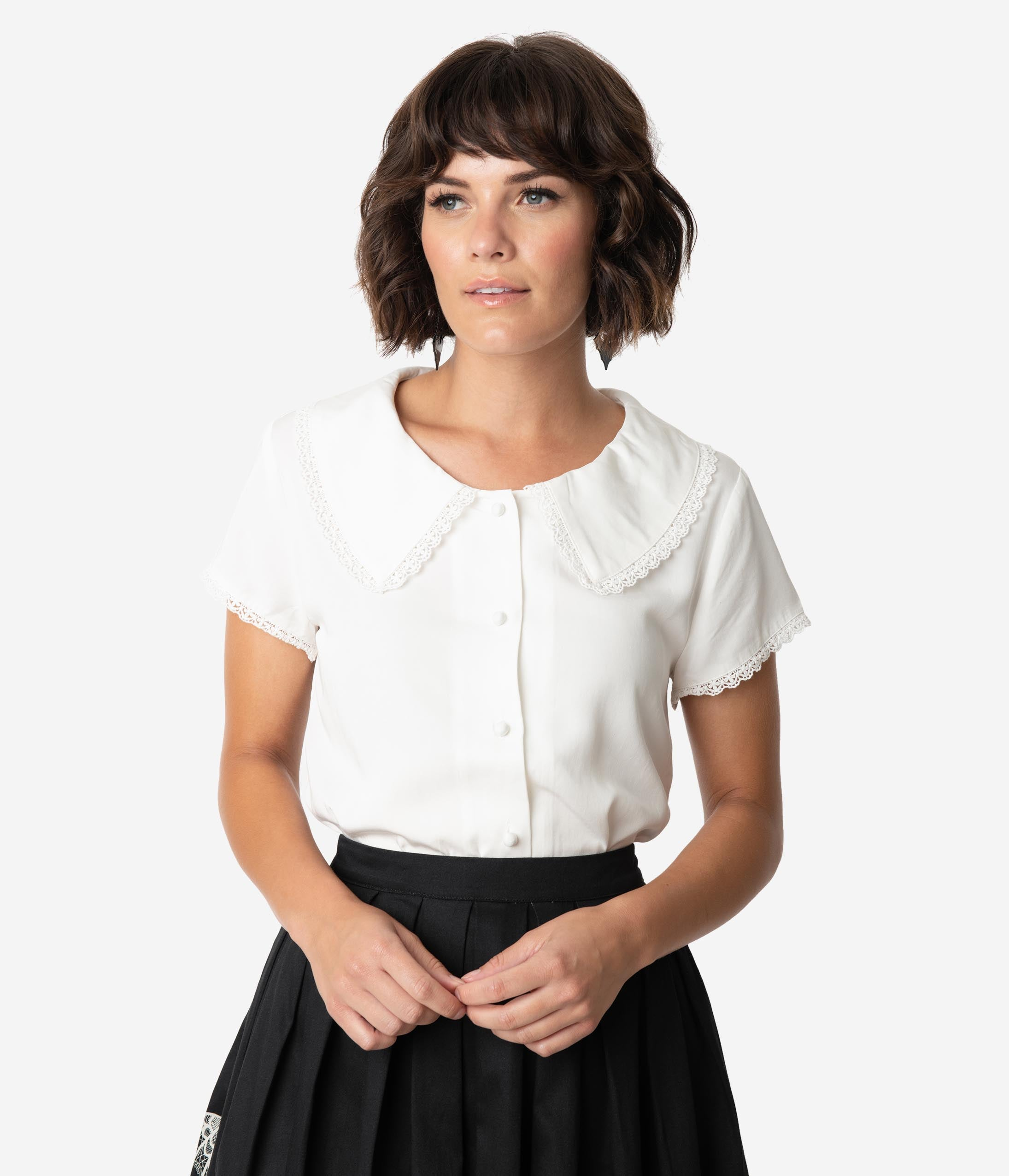1950s Rockabilly & Pin Up Tops, Blouses, Shirts Vintage Style White Puritan Collar  Lace Trim Button Up Blouse $58.00 AT vintagedancer.com