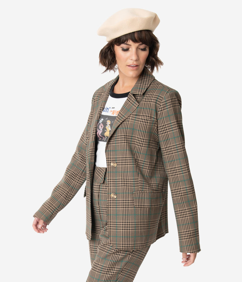 Retro Style Tan Plaid Long Sleeve Button Up Blazer