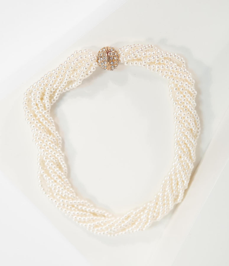 Vintage Style Ivory Multi Strand Pearl Rope Choker