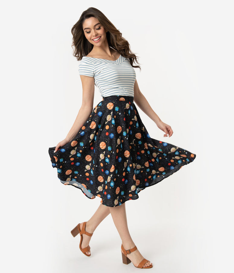 Vintage Style Black Planet Print High Waist Swing Skirt