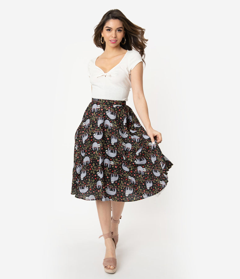Vintage Style Black & Grey Sloth Print High Waist Swing Skirt