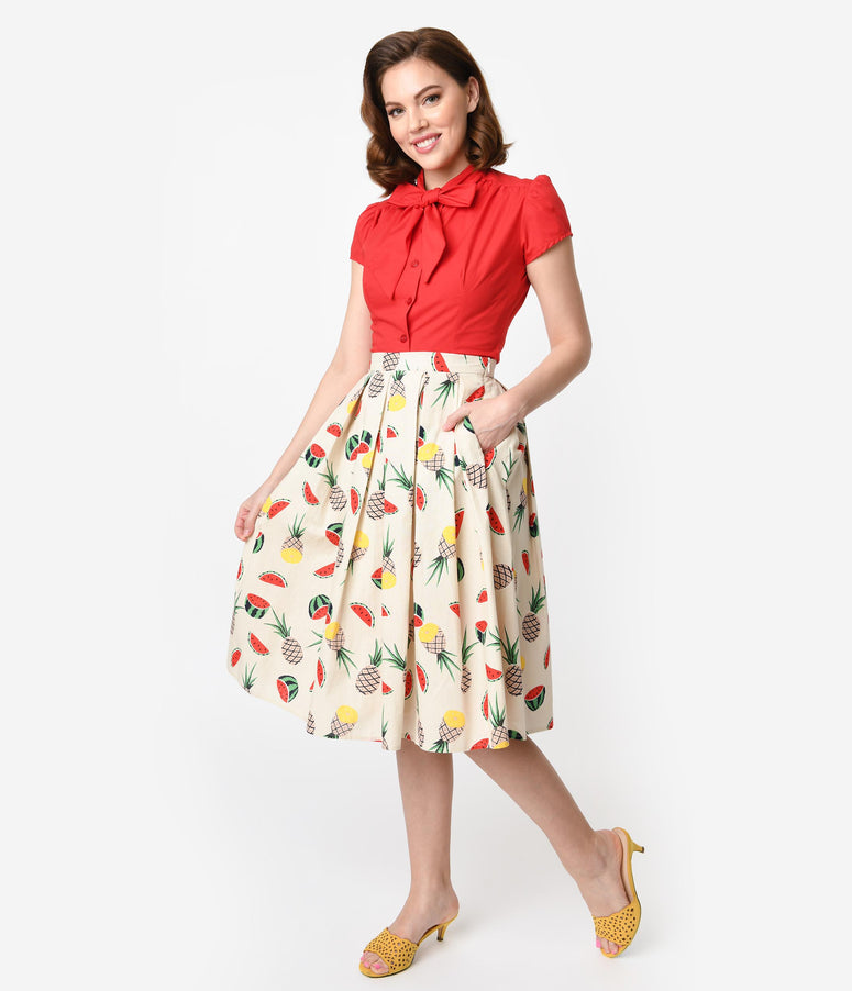 1950s Style Cream Cotton Tropical Fruit Pleated High Waist Swing Skirt