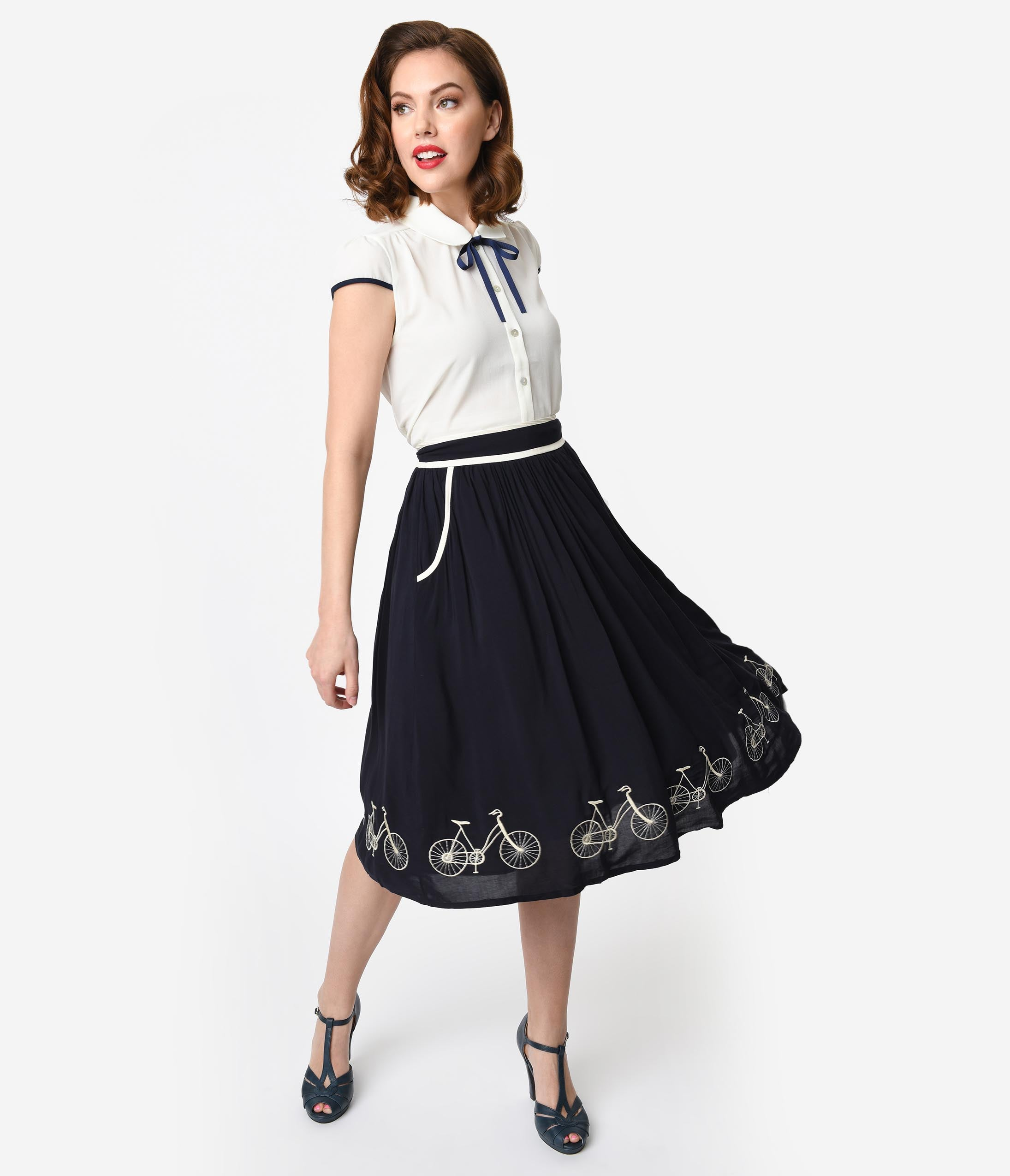 Retro Skirts: Vintage, Pencil, Circle, & Plus Sizes 1950S Style Navy Blue  Ivory Embroidered Bicycle Border Swing Skirt $48.00 AT vintagedancer.com