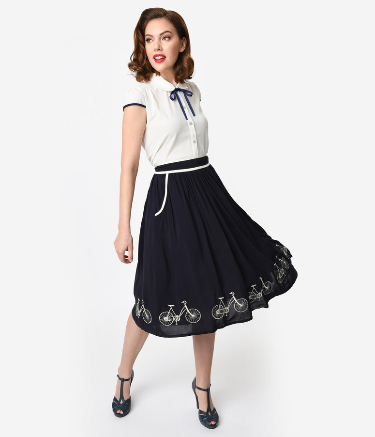 1950s Style Navy Blue & Ivory Embroidered Bicycle Border Swing Skirt