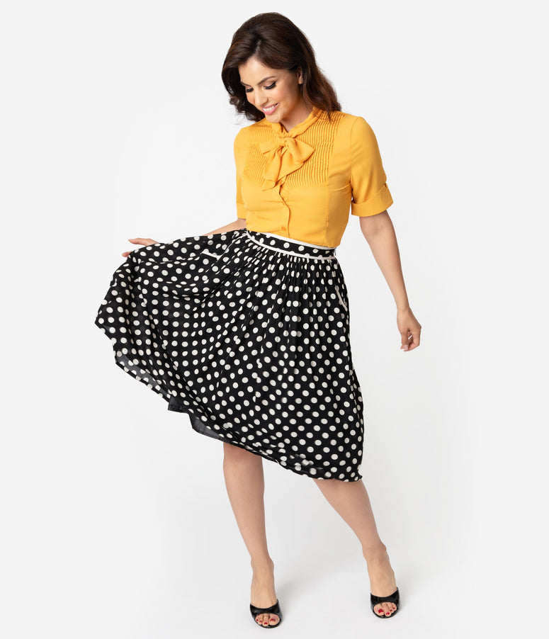 1950s Style Black & Cream Polka Dot High Waist Swing Skirt