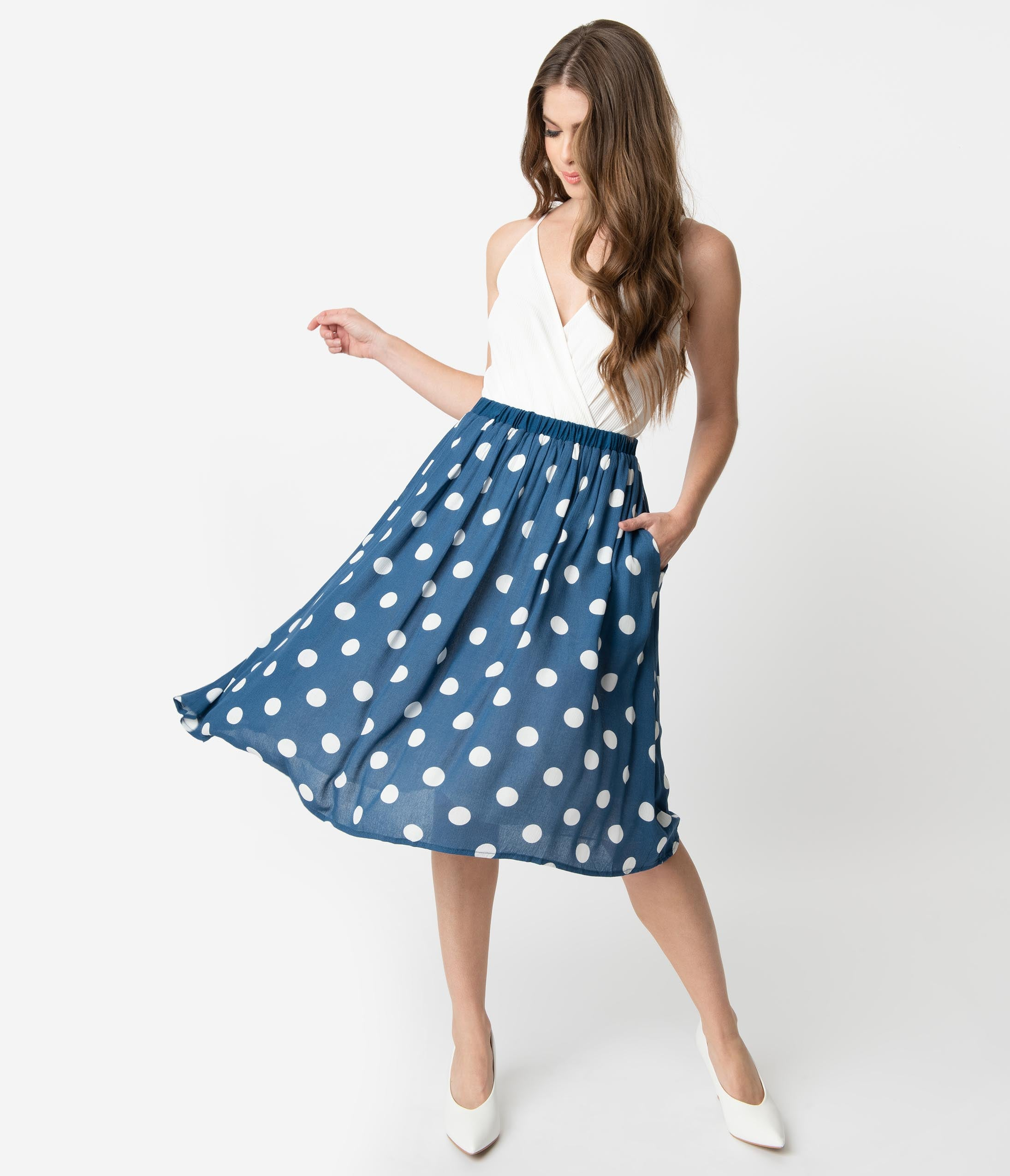 1940s Clothing Retro Style Blue  White Polka Dot Gathered Swing Skirt $46.00 AT vintagedancer.com