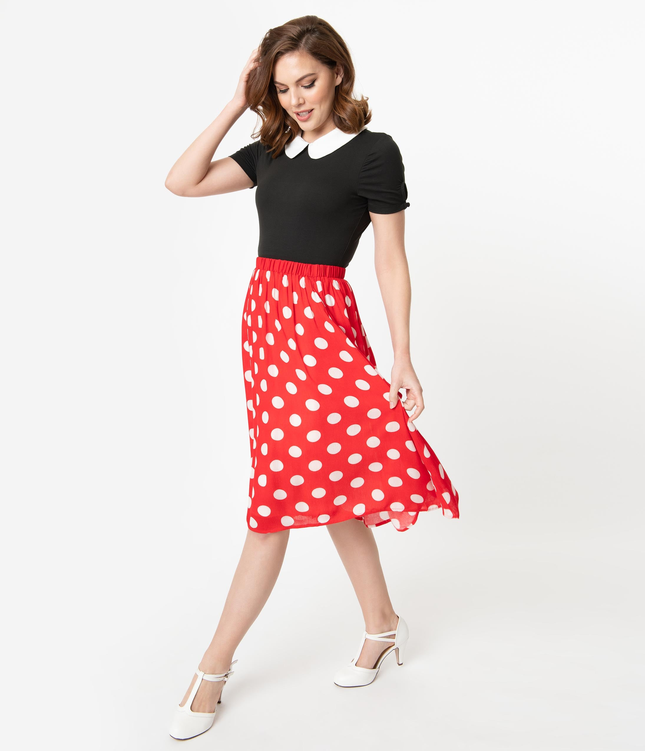ef9fcdb22 Dapper Day Outfit Ideas | Vintage Disney Dresses Retro Style Red White  Polka Dot Gathered Swing