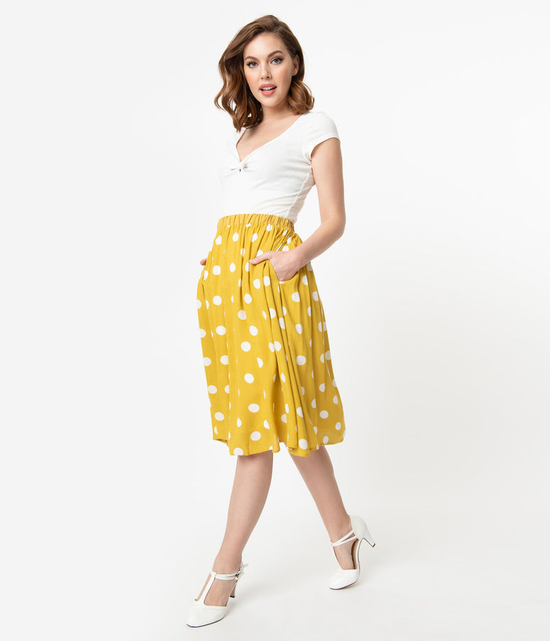 Retro Style Mustard Yellow & White Polka Dot Gathered Swing Skirt