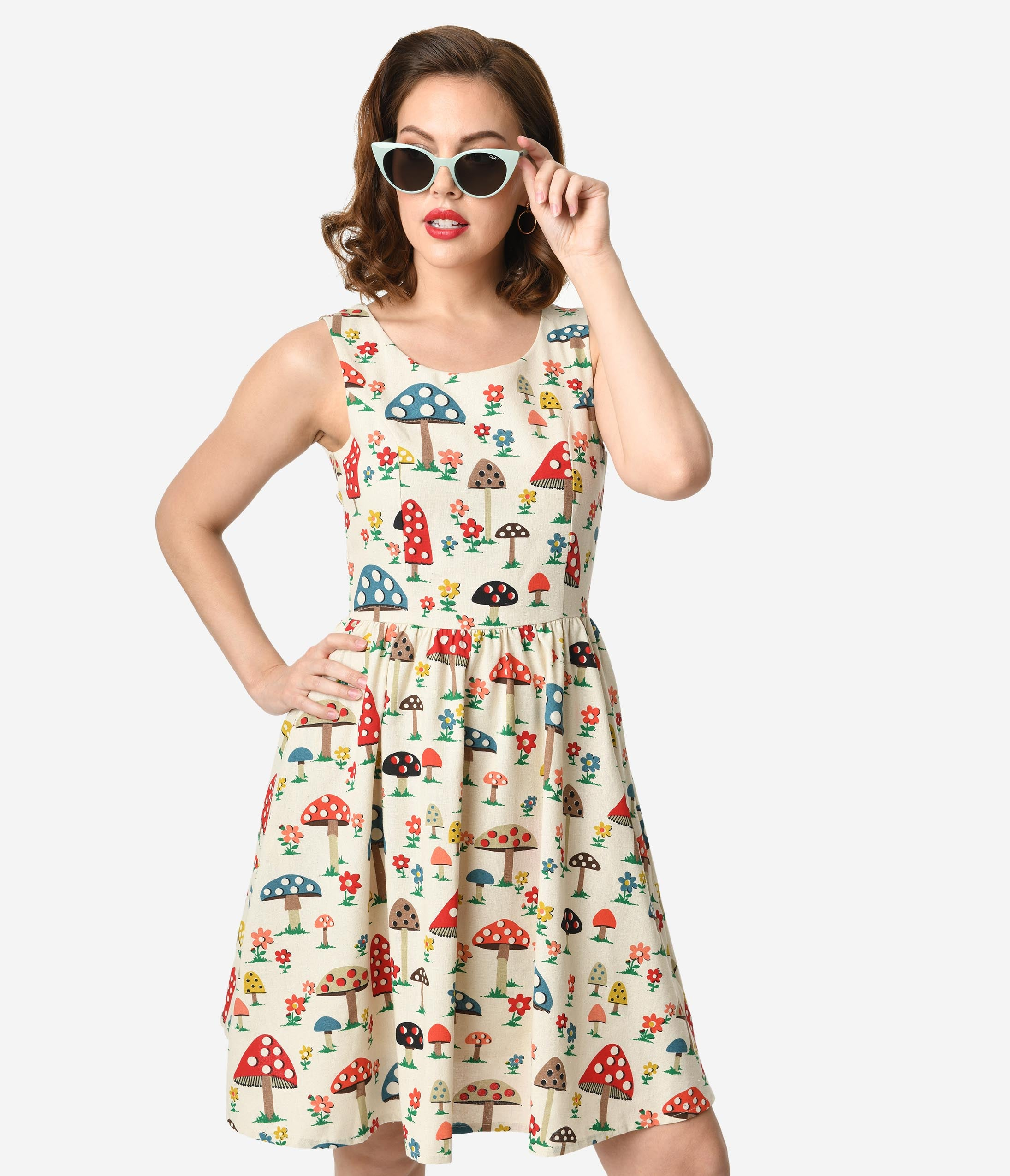 eae3d6359d4 1960s Style Cream Mushroom Print Cotton Sleeveless Fit   Flare Dress