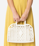 Ivory Retro Cutout Leatherette Bowler Purse