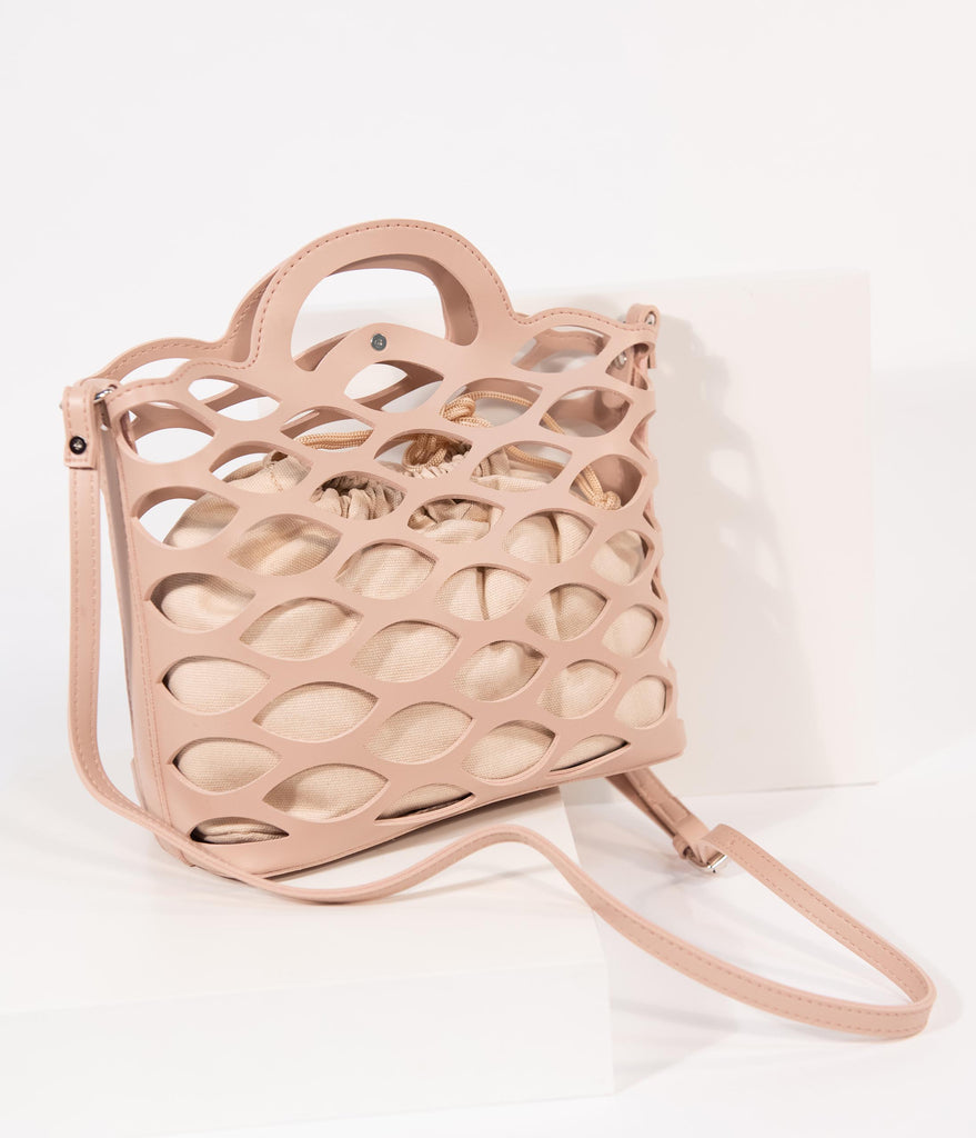 Dusty Pink Retro Cutout Leatherette Tote Bag