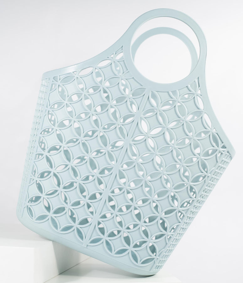 Retro Style Mint Blue Atomic Star Pattern Jelly Tote