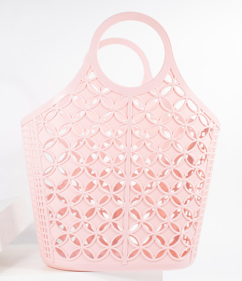 Retro Style Blush Pink Atomic Star Pattern Jelly Tote