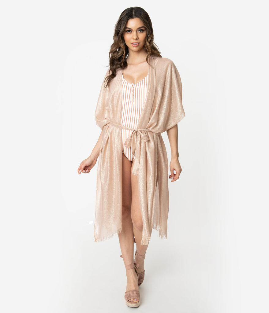 Blush Pink Shimmer Sleeve Swim Cover Up