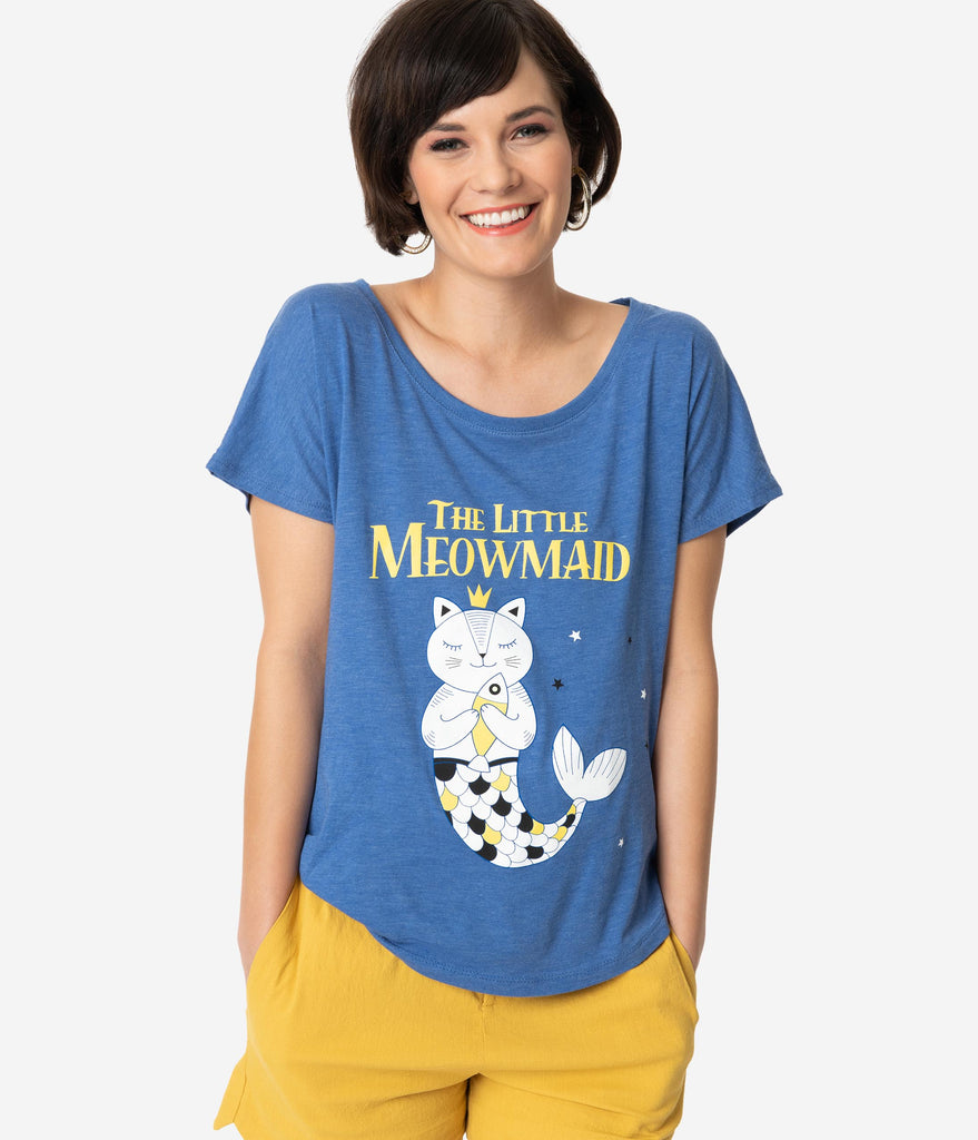 Blue The Little Meowmaid Scoop Neck Dolman Tee
