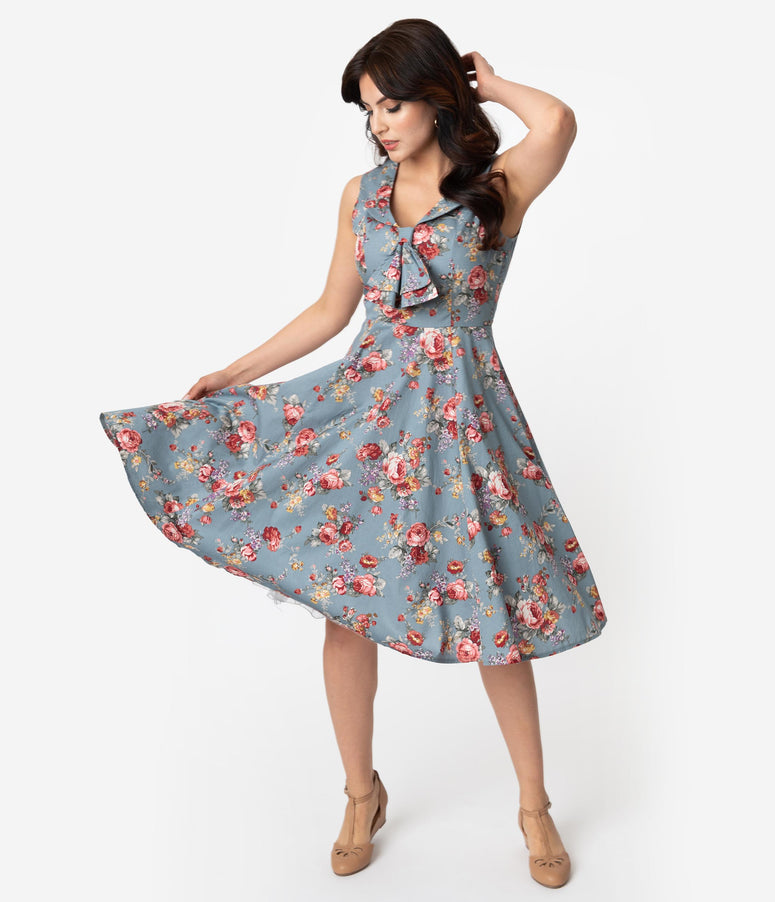 1447bccebf31 1940s Style Vintage Blue   Pink Floral Cotton Sleeveless Swing Dress