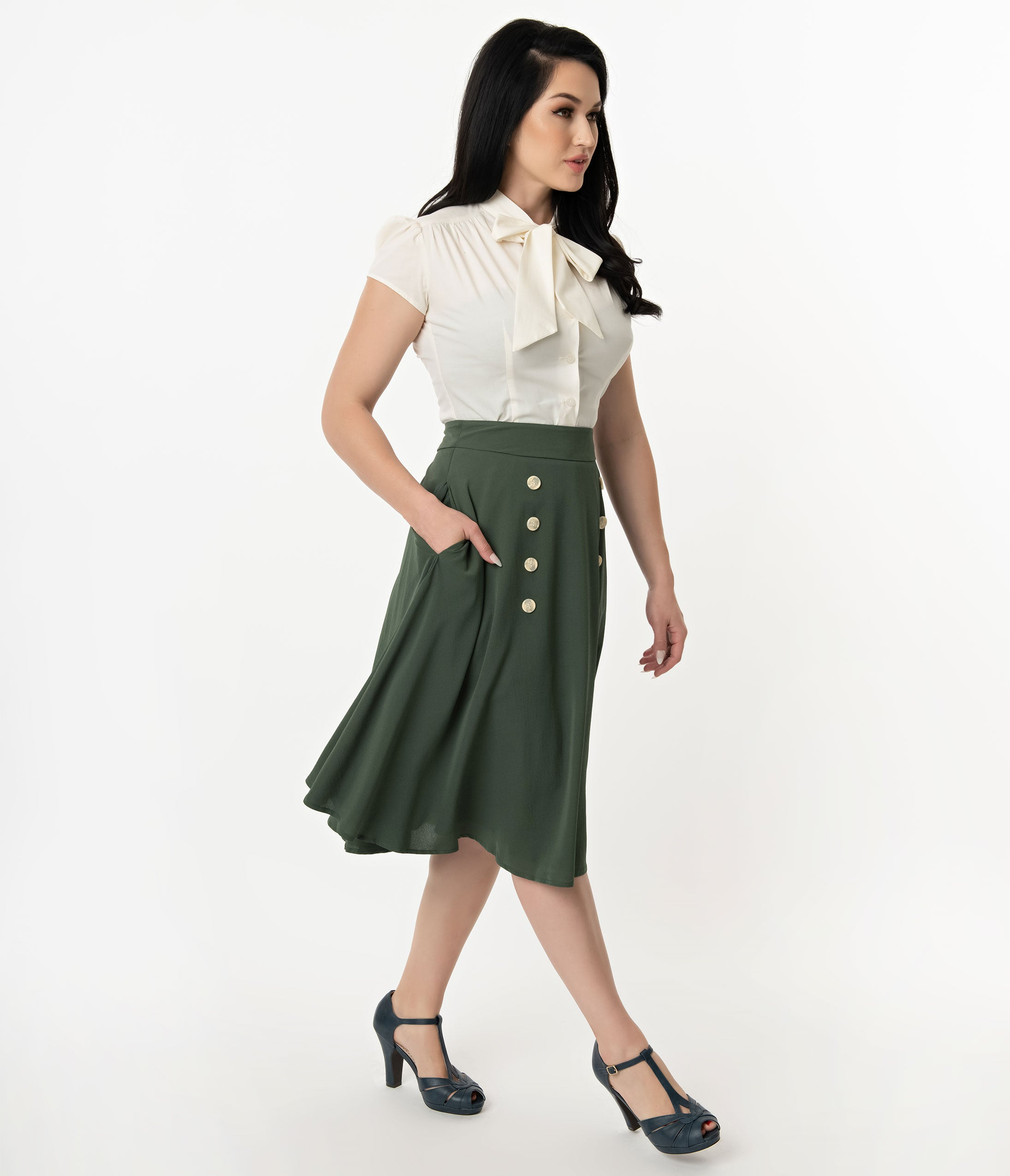 Retro Skirts: Vintage, Pencil, Circle, & Plus Sizes 1950S Style Forest Green Crepe Cute As A Button High Waist Swing Skirt $48.00 AT vintagedancer.com