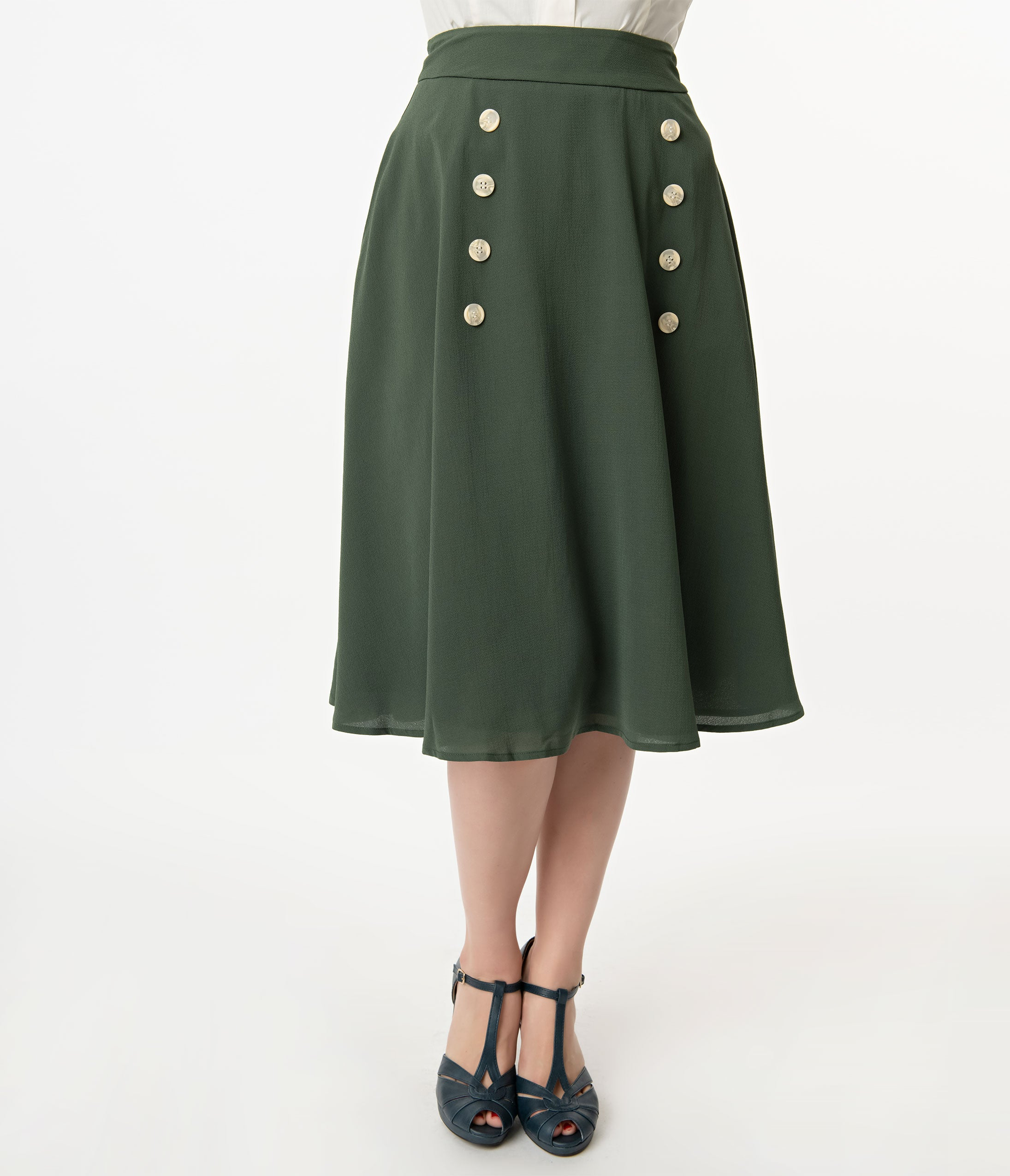 fe8540bcdad6ac 1950s Style Forest Green Crepe Cute As A Button High Waist Swing Skirt