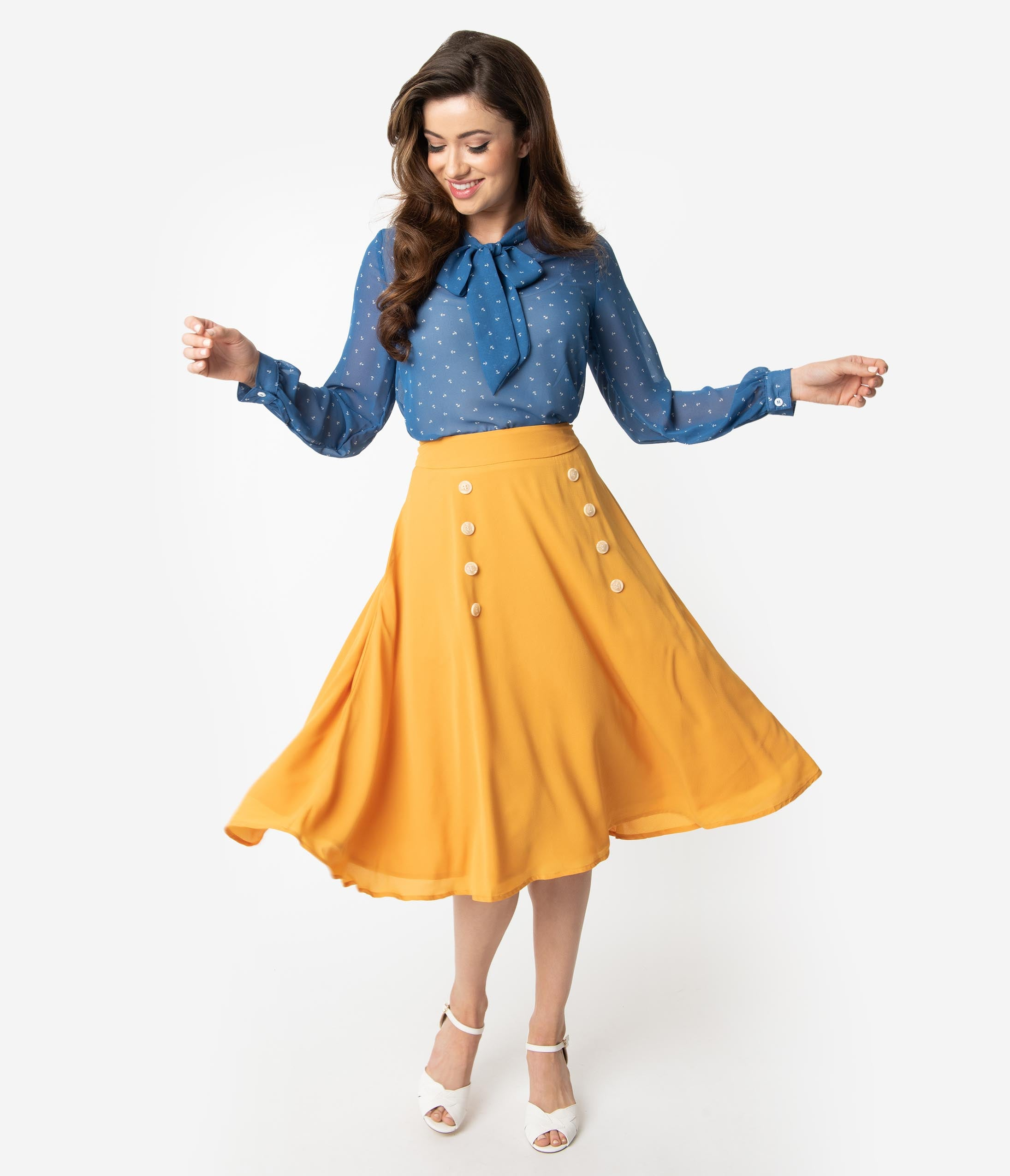 Retro Skirts: Vintage, Pencil, Circle, & Plus Sizes 1950S Style Mustard Yellow Crepe Cute As A Button High Waist Swing Skirt $48.00 AT vintagedancer.com
