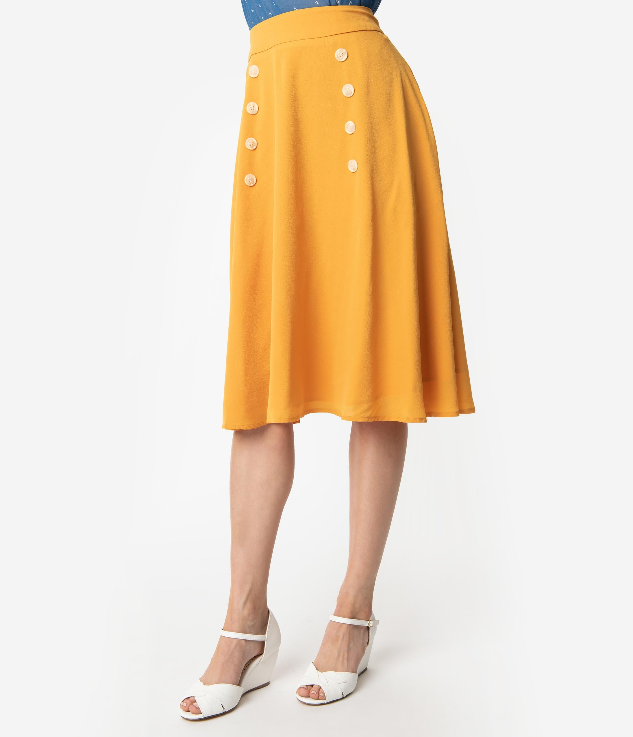 1702d2d7835b27 1950s Style Mustard Yellow Crepe Cute As A Button High Waist Swing Skirt.  $48.00. 5 Reviews. Unique Vintage Mint Green & Polka Dot ...