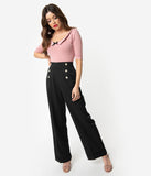 1940s Style Black Woven Adventures Ahead High Waist Pants