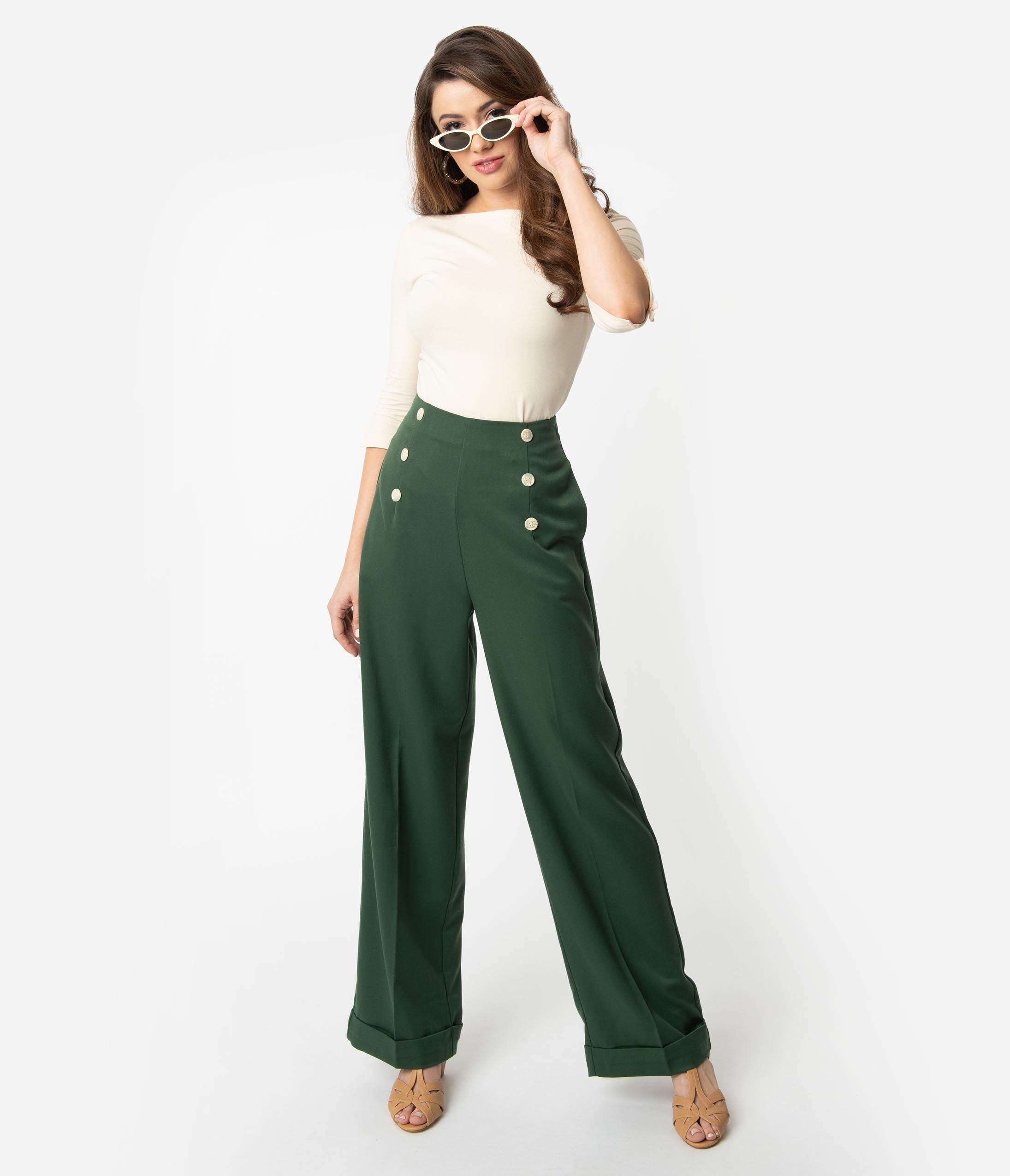 Agent Peggy Carter Costume, Dress, Hats 1940S Style Forest Green Woven Adventures Ahead High Waist Pants $52.00 AT vintagedancer.com