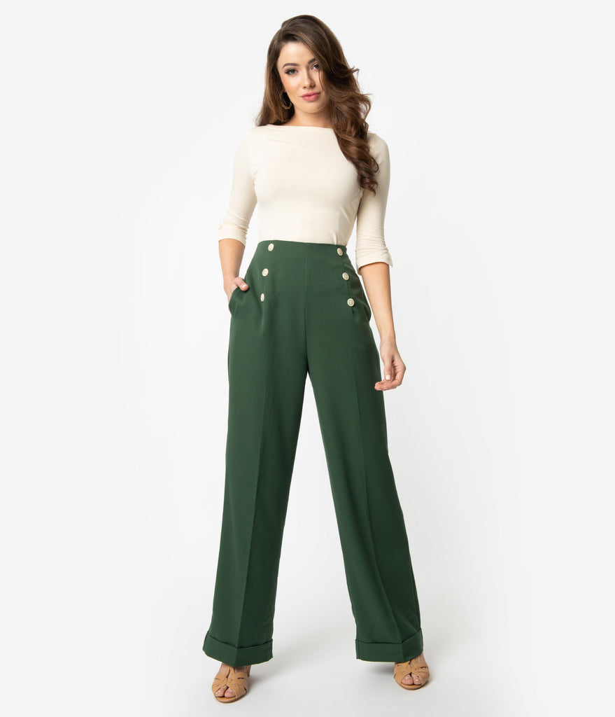 1940s Style Forest Green Woven Adventures Ahead High Waist Pants