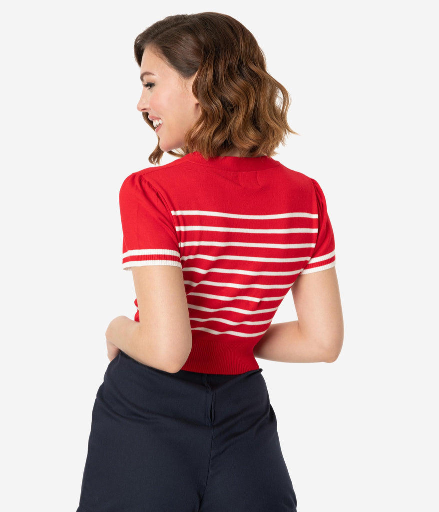 Vintage Style Red & White Stripe Sailor Crop Sweater