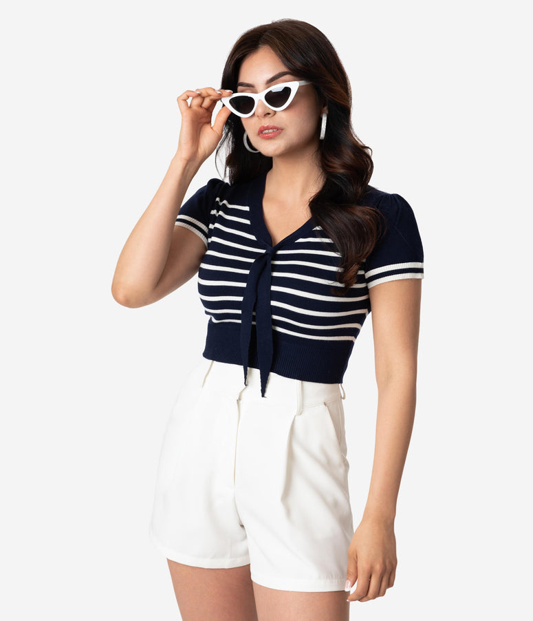 Vintage Style Navy & White Stripe Sailor Crop Sweater