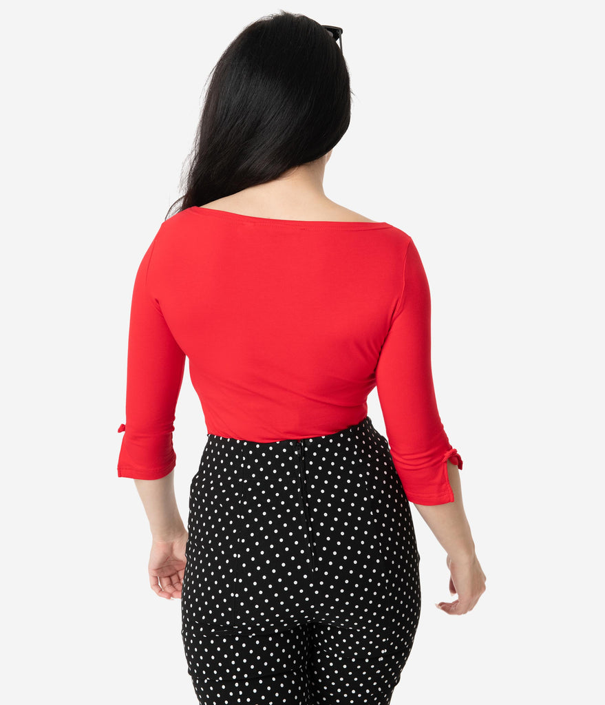 Retro Red Three-Quarter Bow Sleeve Knit Modern Love Top