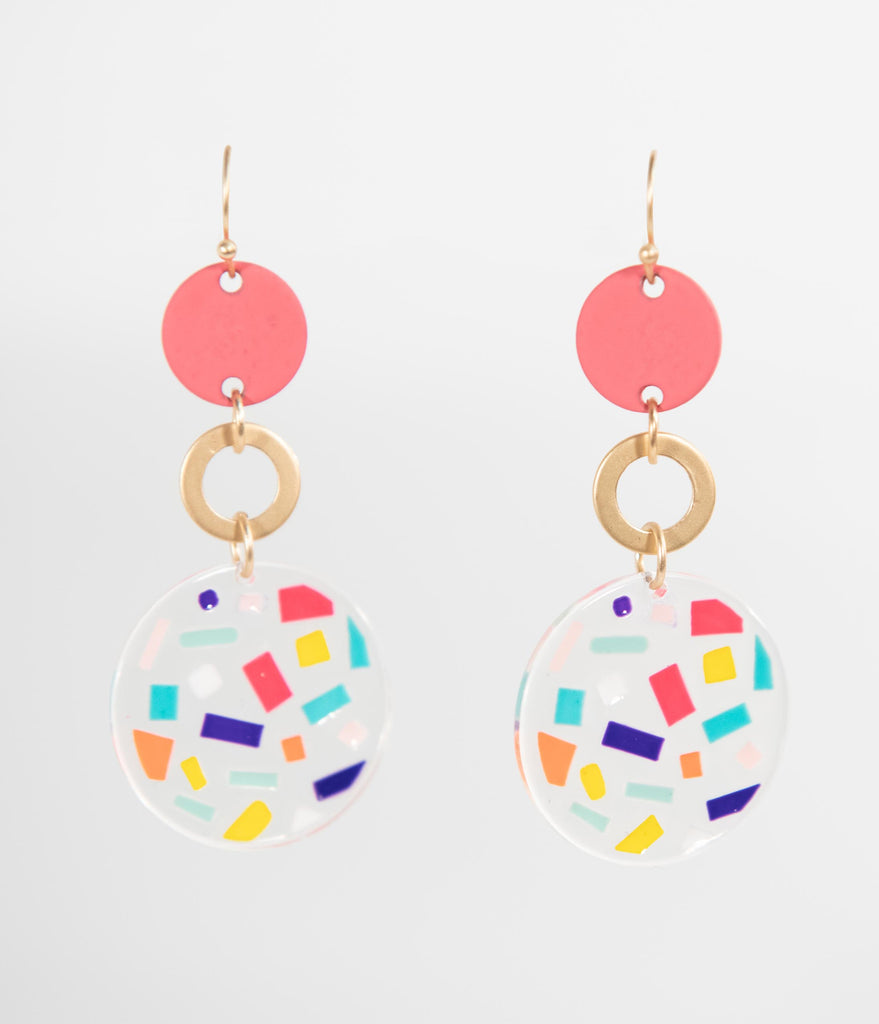 Retro Style Multicolor Confetti Resin Circle Hook Earrings