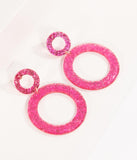 Pink Glitter Resin Dual Hoop Drop Earrings
