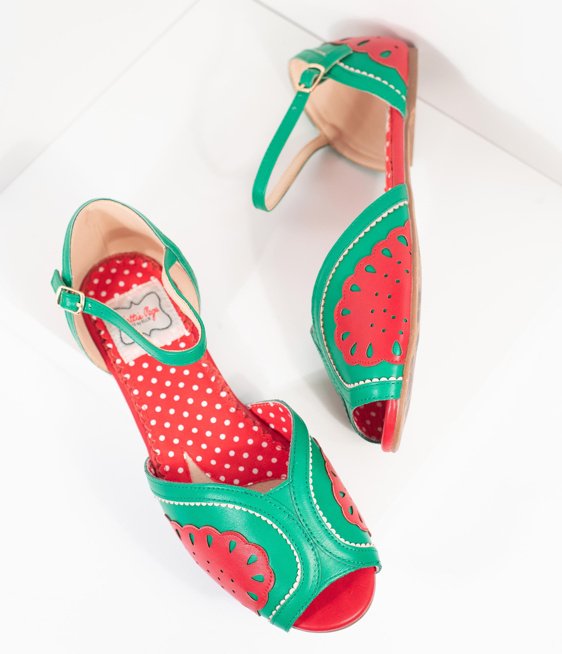 1950s Style Shoes | Heels, Flats, Saddle Shoes Bettie Page Red  Green Leatherette Peep Toe FruitieWatermelon Sandals $78.00 AT vintagedancer.com