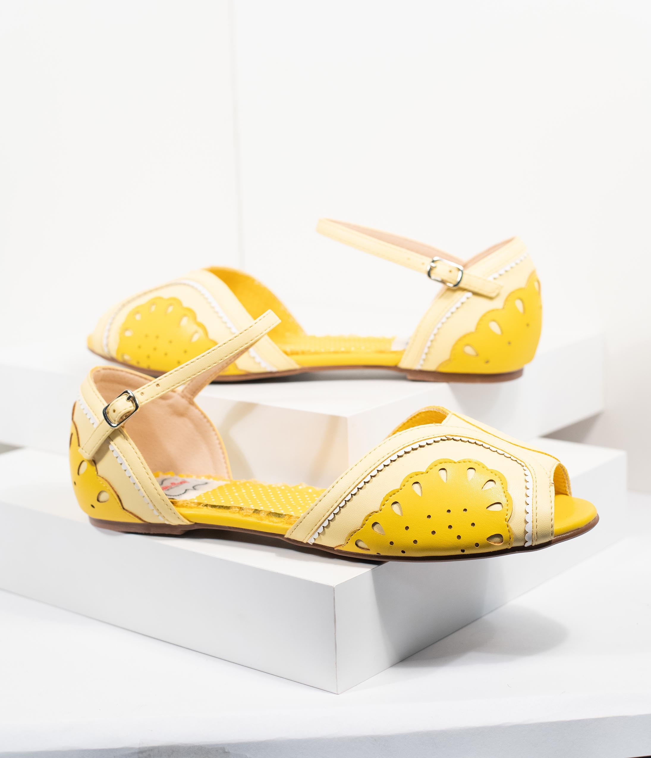 Pin Up Shoes- Heels, Pumps & Flats Bettie Page Yellow Leatherette Peep Toe FruitieLemon Sandals $80.00 AT vintagedancer.com
