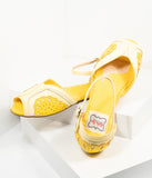 Bettie Page Yellow Leatherette Peep Toe Fruitie Lemon Sandals