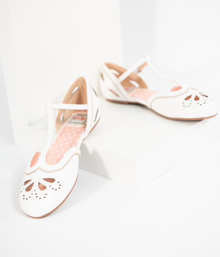 Bettie Page Ivory & Taupe Leatherette Julie Cutout T-Strap Flats