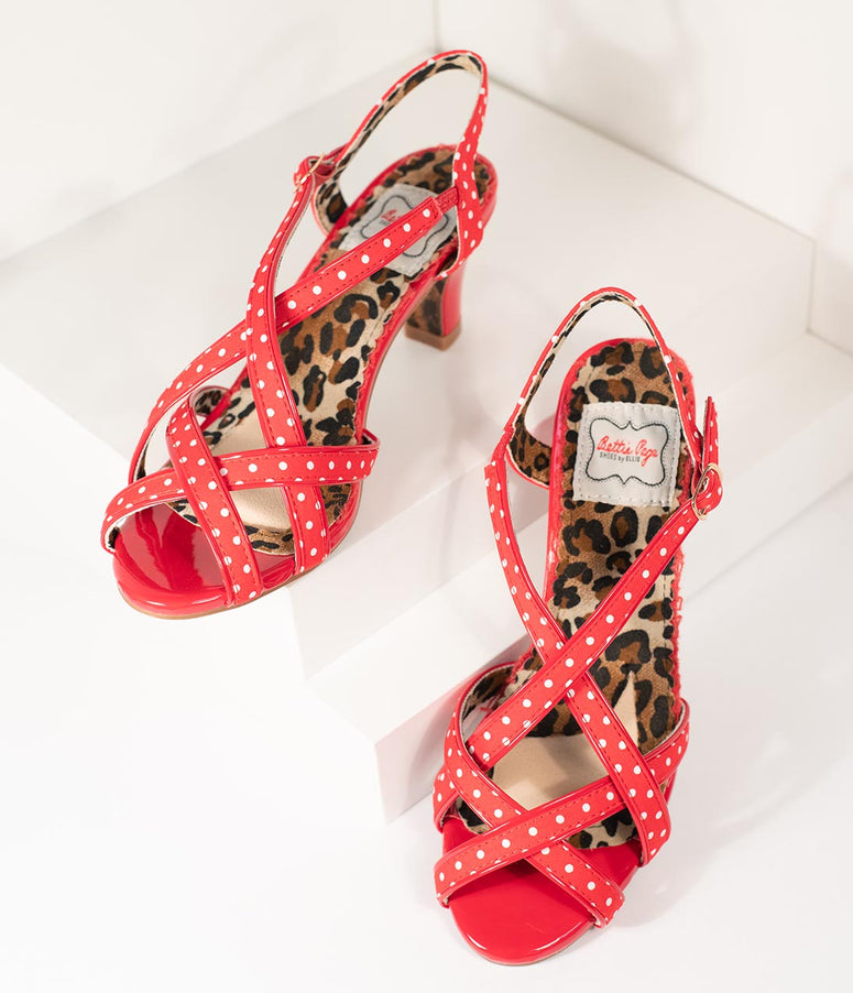 Bettie Page Retro Red & White Polka Dot Peep Toe Gracie Heels