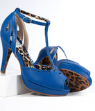 Bettie Page Blue Leatherette Peep Toe Willie T-Strap Heels