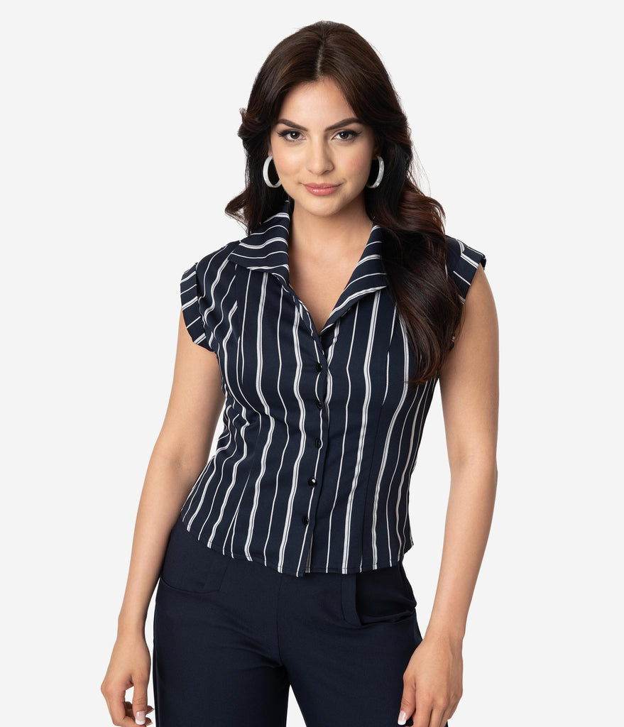 Retro Style Navy Blue & Grey Pinstripe Button Up Blouse