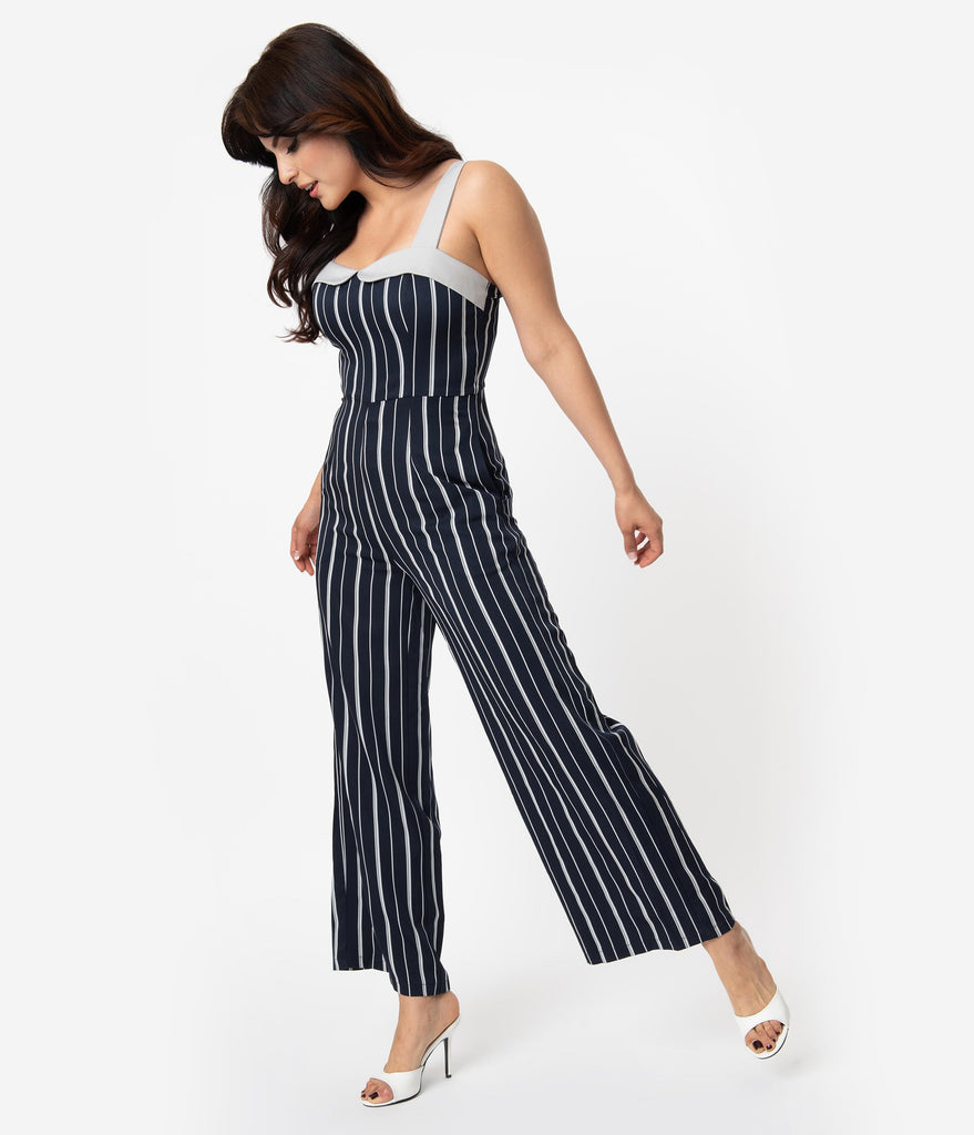1920s Style Navy Blue & Grey Striped Summer Breeze Jumpsuit