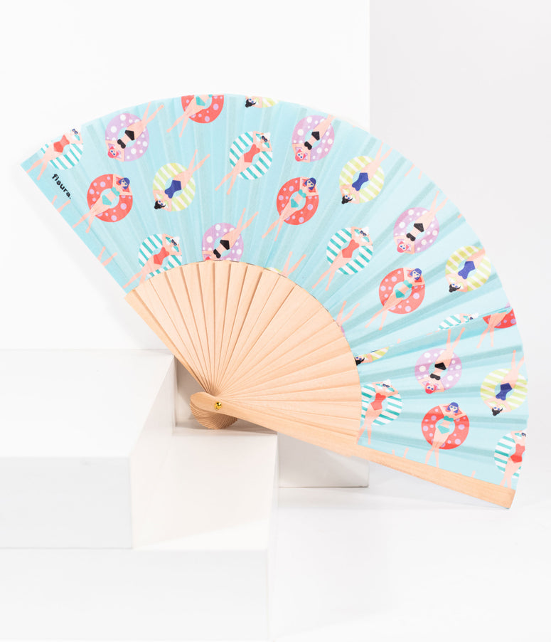 Blue Lounging Swimmers Print Fabric Hand Fan