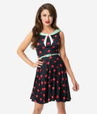 Coca-Cola Collection by Unique Vintage 1950s Style Black & Red Bottle Cap Print Pop! Fit & Flare Dress